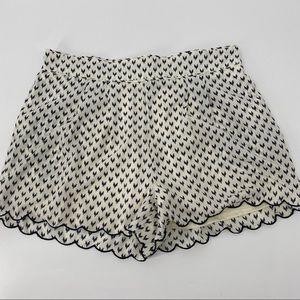 Sequin Hearts Blue & White Scalloped Hem Shorts